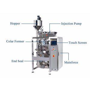 Pystysuoran täyttötiiviste koneella, jossa nesteannostelija täyttöaukolla